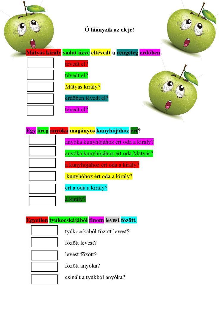 Kérdőszavak kiválasztása, juditsuli.blogspot.hu