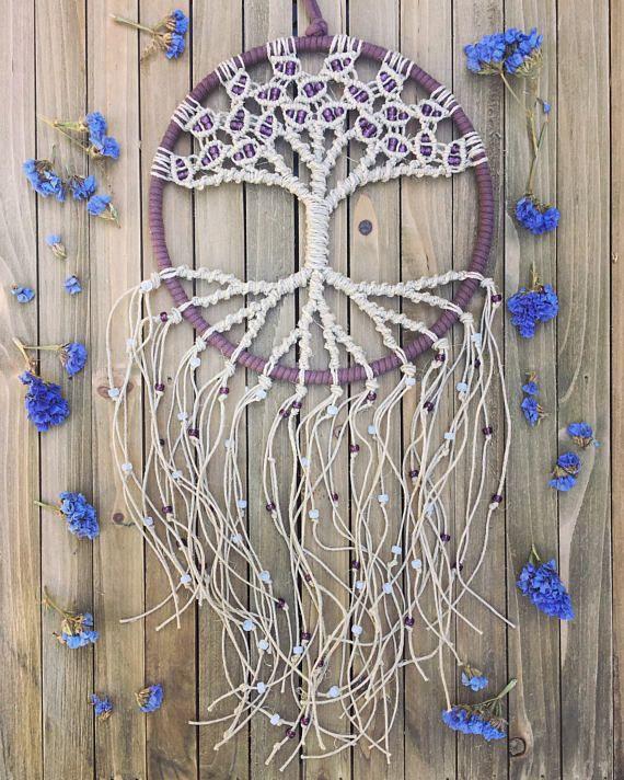 Macrame  Macrame tapiz  árbol de la vida arte de pared