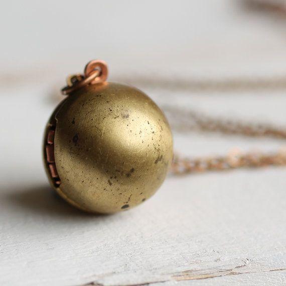 Ball-Medaillon... Kugel Globe Jahrgang Gold Messing Kupfer industrielle moderne Anweisung Anhänger