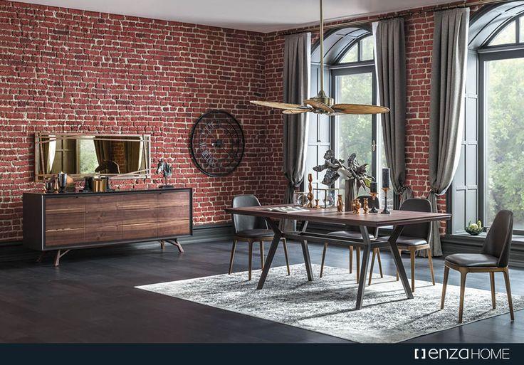 %100 MDF'den üretilen özel seri Rain Yemek Odası, masa ve konsolundaki özel tasarım ayak yapısı ve doğal ceviz kaplamasıyla göz dolduruyor.