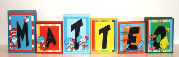 Dr. Seuss inspired Personalized Blocks - Matteo Collection -Baby - Teacher - Family - Baby Shower- Photo Shoots on Etsy, $9.00