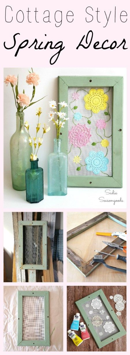 Want some pretty, cottage style Spring decor for your home this season? Stitch some pastel-dyed vintage crocheted doilies to window screen that is attached to a window or picture frame! Embroidered leaves and vines add more whimsy and fun to this sweet repurposed / upcycled DIY craft project! #SadieSeasongoods / www.sadieseasongoods.com