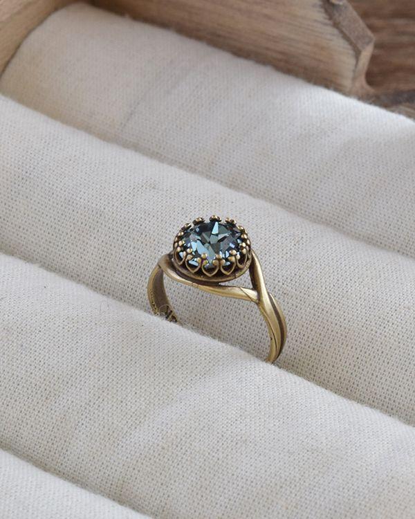 Indian sapphire Swarovski Ring, Grayish blue Swarovski Crystal Ring, Something blue, Gift for Her, Bridal Jewelry, Brass Ring, Blue ring