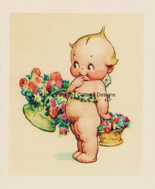Vintage Repro Kewpie Basket Flowers Fabric Block 8x10   eBay