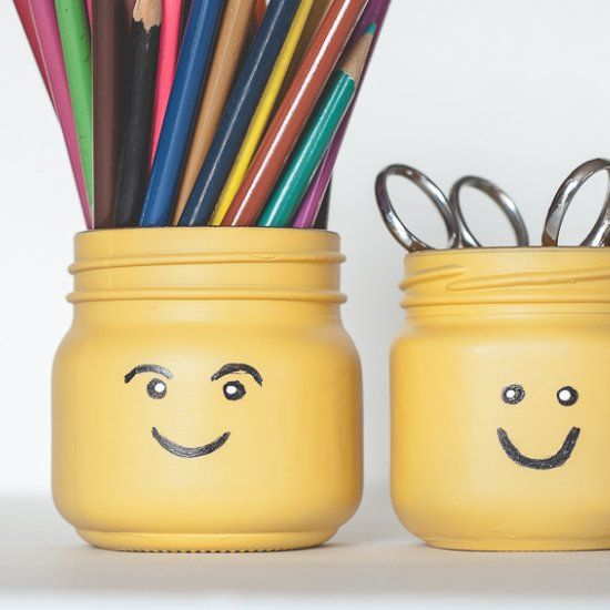 Lego Head Mason Jars, perfect decor or party favors for Lego party theme!