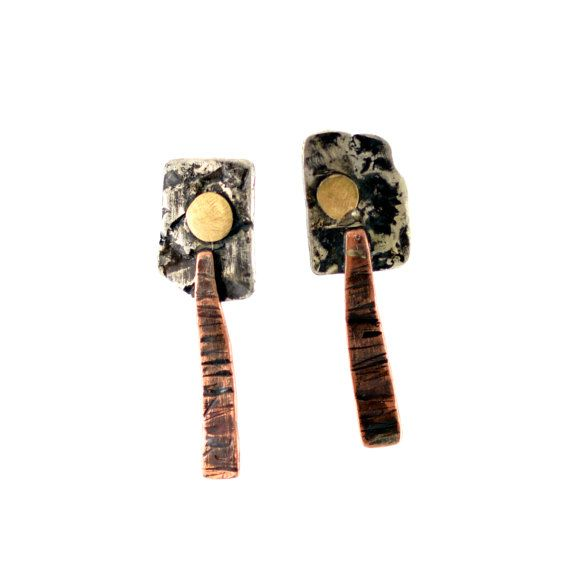 Sterling Silver Earrings with Brass and  Copper elements