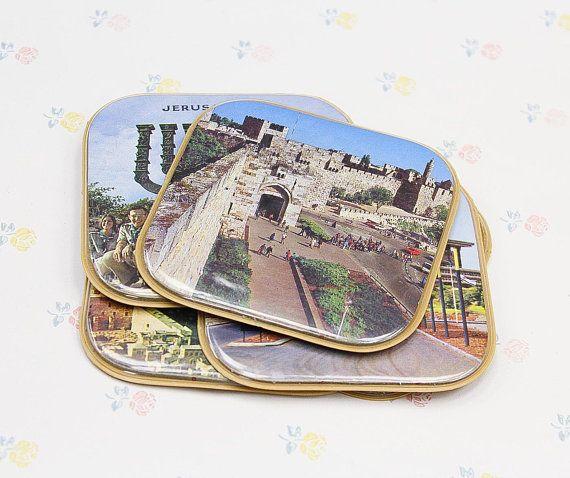 Vintage Jerusalem Souvenir Coaster Set Vintage Souvenir Gift