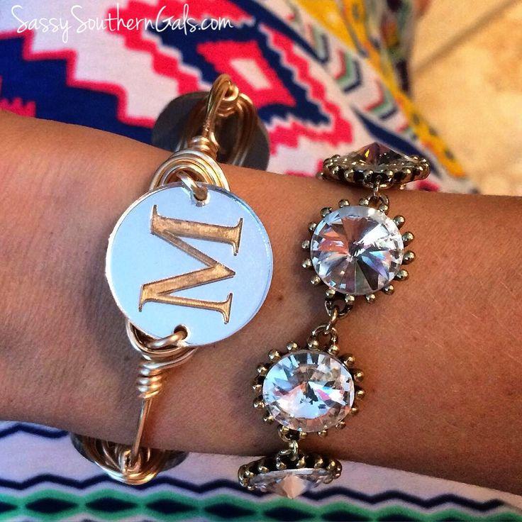 Engraved Monogram Bracelet, Monogram Bracelet,  Engraved Initial Bracelet, Engraved Acrylic Initial / Monogram Bangle Bracelet by SassySouthernGals on Etsy https://www.etsy.com/listing/256116595/engraved-monogram-bracelet-monogram