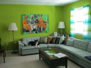 Grey And Green Living Room With L Shaped Sofa Wall