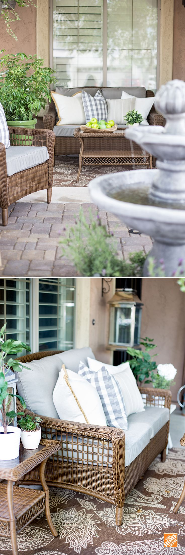 With more than a dozen color options for patio furniture cushions to choose from, it's easy to get exactly the right look for your outdoor space. Here you see that style expert Destiny Alfonso found just the right shade of gray in The Home Depot's Spring Haven patio set  to coordinate with her existing pillows. See more simple decorating ideas for your deck, balcony or porch on The Home Depot Blog.