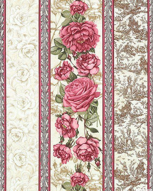 Paris Rendezvous - Rose Toile Stripe - Cream