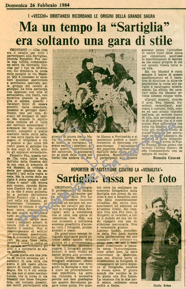Unione Sarda - 26 febbraio 1984 #sartiglia #oristano #carnevale