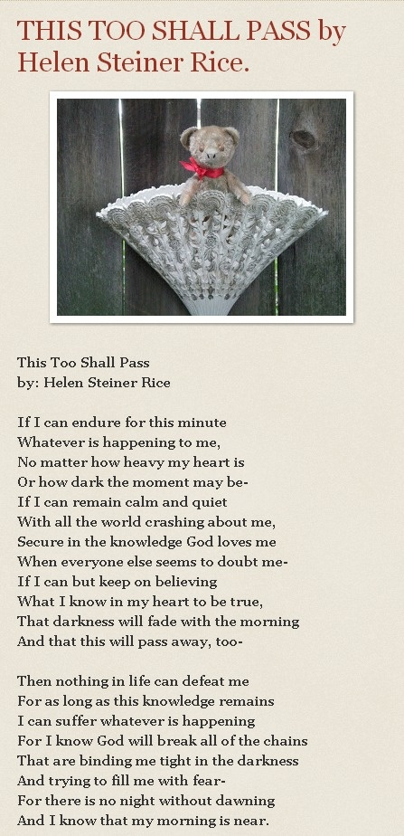 This Too Shall Pass by Helen Steiner Rice