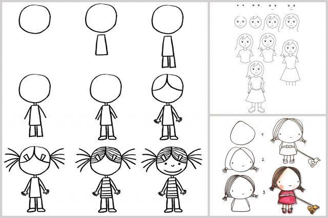 Techniques faciles pour apprendre à dessiner #enfants #fille