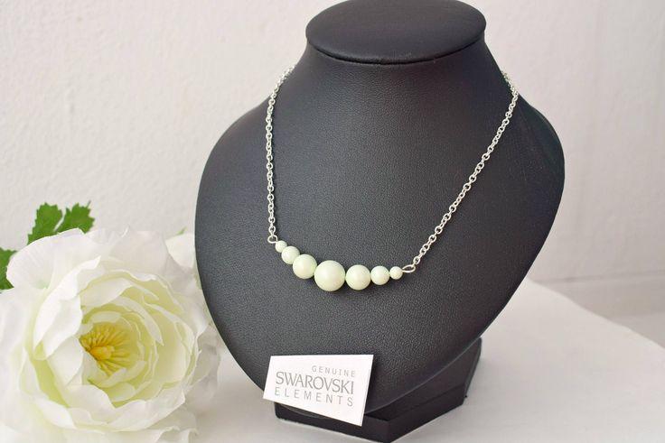 Green Bar Necklace - Pastel Jewelry - Pearl Bar Necklace - Swarovski Crystal Bar Jewelry - Beaded Bar Necklace - Pastel Wedding by SkadiJewelry on Etsy