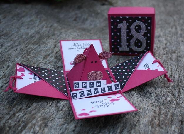 Zauberhaft-handgemacht, Explosionsbox mit Sparschwein, 18. Geburtstag, Verpackung, Freunde mit Ecken und Kanten, Thinlits Große Zahlen, Labeler Alphabet, Brushwork Alphabet, SU