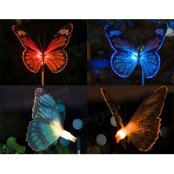 Butterfly LED Optical Fiber Solar Power Outdoor Light Lamp Sale - Banggood.com