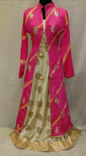 Rajasthani Gota Patti work Suits: Gotapatti handwork full gown in pink n cream combo...