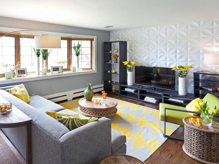 This Contemporary Living Room Features A See Through Entertainment Cabinet  That Doesnu0027t Take Away From The Textured Accent Wall. A Yellow Chevron Rug  Rug ... Part 67
