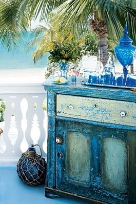 Distressed Shabby Chic Beach Decor Dresser Used As An Outdoor Bar... Love  The