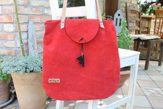 Suede leather bag Red suede leather tote bag Red womens bag leather every day bag #etsy #leather bag #suede leather #red bag #women bag #lady shoulder bag # handmade bag #totes