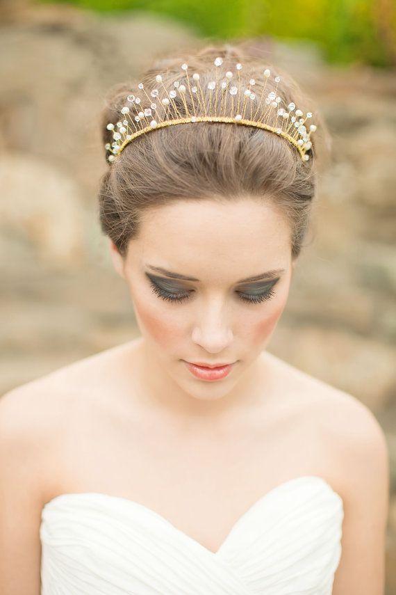 Tiara, Bridal Crown, Wired Crystal and Pearl Crown, Wedding Tiara - Celeste MADE…