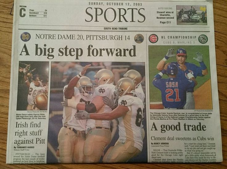 Notre Dame Football Game 2003 South Bend Tribune Newspaper, Pittsburgh / Cubs…