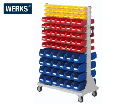 WERKS Louvre Bin Trolley. Buy Workshop & Factory Online - Materials Handling - Backsafe Australia: https://www.backsafeaustralia.com.au/products/workshop-factory
