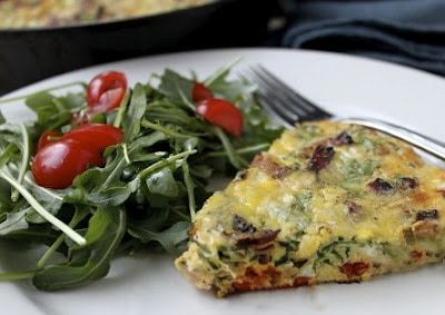 A Guest Blogger with a Delicious Arugula Applewood Bacon Frittata