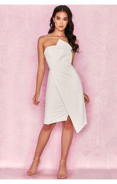 b371502ad13 Clothing   Structured Dresses    Uma  White Fold Front Mini Dress ...
