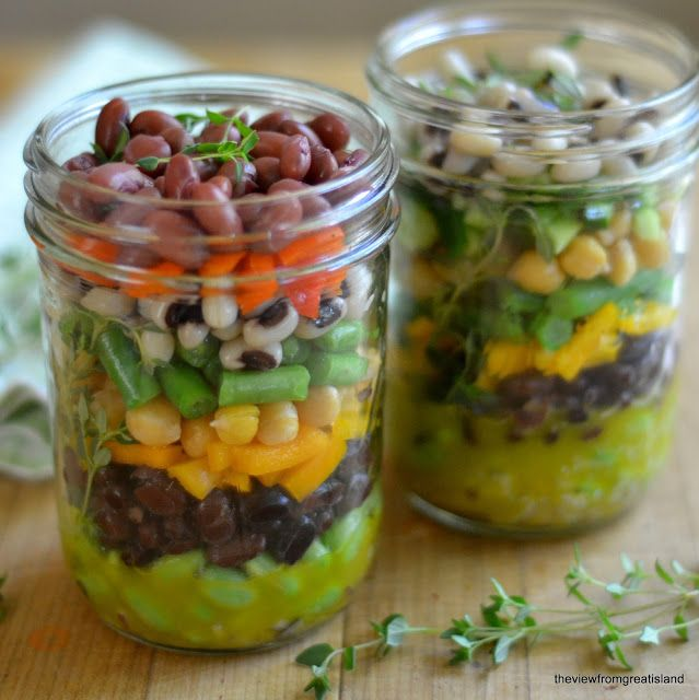 Minimal Monday: Layered 7-Bean Salad in a Jar - The View from Great Island #vegan
