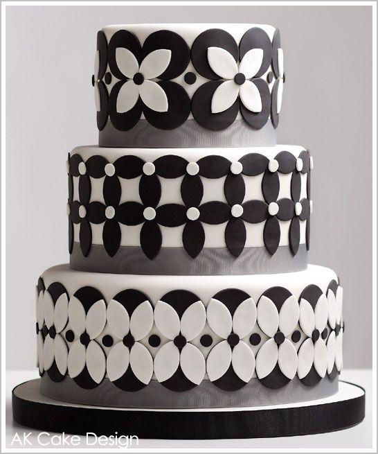 Black & White Petals Cake, created by Allison of AK Cake Design in Portland.
