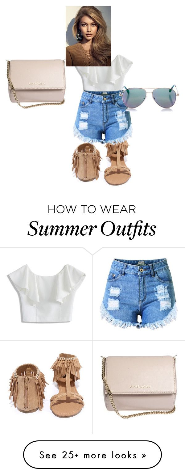 """summer outfit"" by sayonna104 on Polyvore featuring Chicwish, Qupid, Givenchy, Topshop and Cutler and Gross"