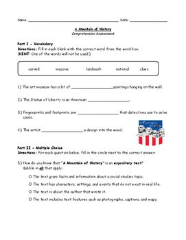 "Comprehension activity for ""A Mountain of History"" from the McGraw Hill Wonders series (Unit 1 Week 5). Questions include fill-in-the-blank, multiple choice, sequencing, and short answer. Topics include vocabulary and comprehension. Answer key included in the document."