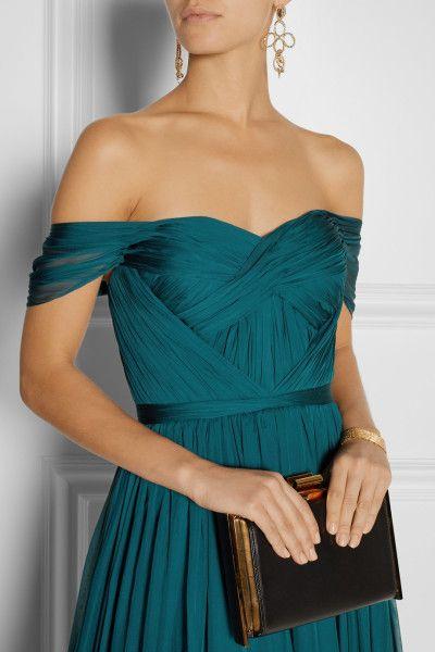 Marchesa Off-the-shoulder Silk-chiffon Gown in Blue  jaglady
