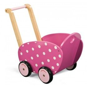 Janod - Pink Wooden Doll's Pram