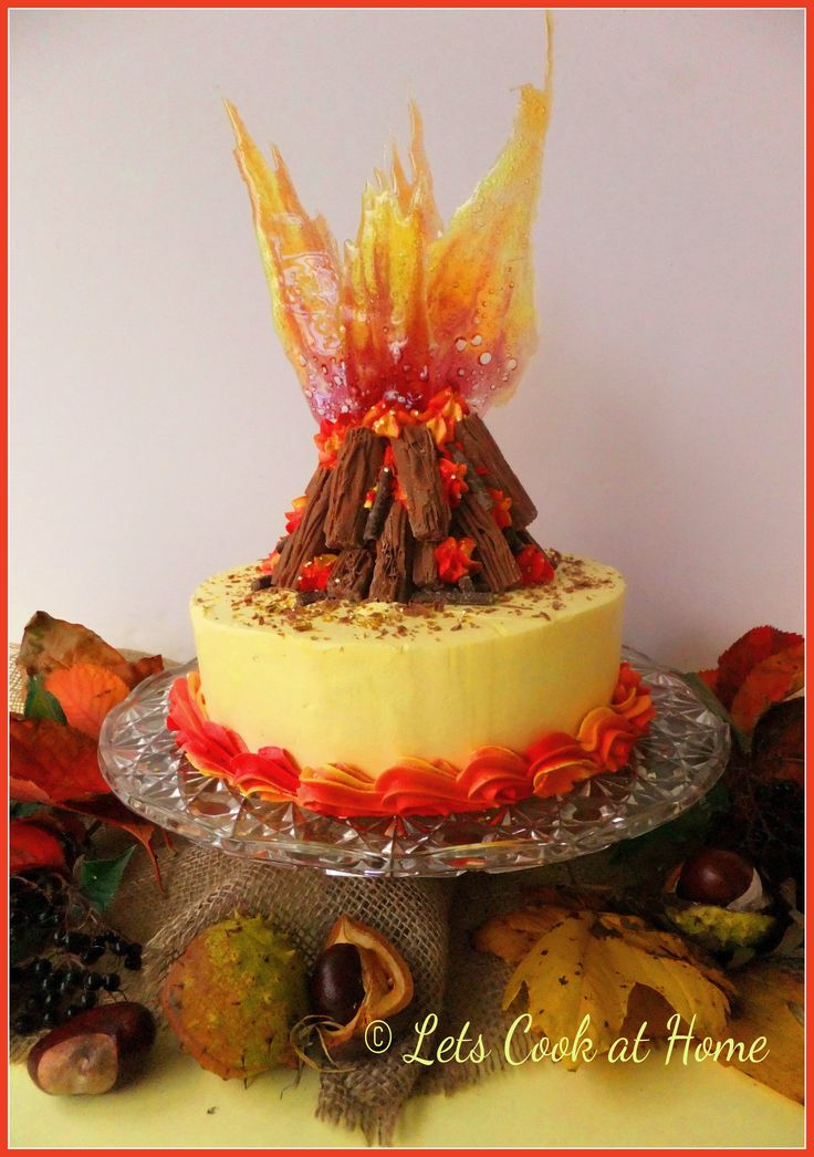 This cake is great for November the 5th a fabulous bonfire night cake with sugar flames  Cake