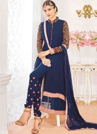 Navy Blue Embroidery Work Georgette Chiffon Designer Wedding Pakistani Suit http://www.angelnx.com/Salwar-Kameez/Pakistani-Suits