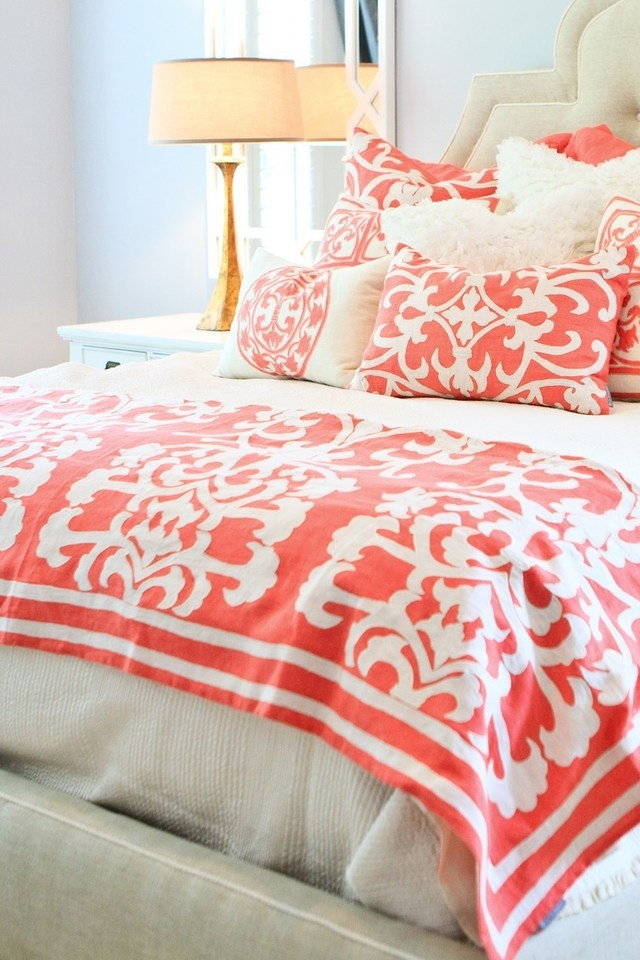 79 best images about color coral on pinterest coral pillows coral pattern and bedding - Spots of color in the bedroom linens and throws ...