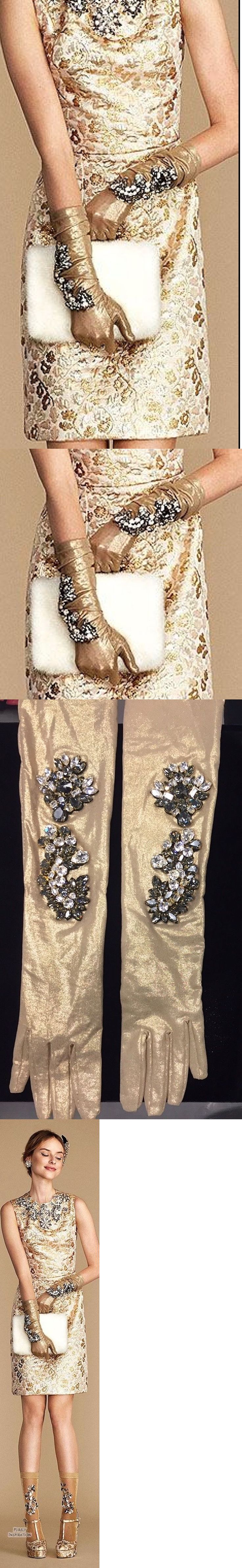 Gloves 65974: Nwt Dolceandgabbana Gold Crystal Embellished Gloves Size 6 -> BUY IT NOW ONLY: $2499 on eBay!