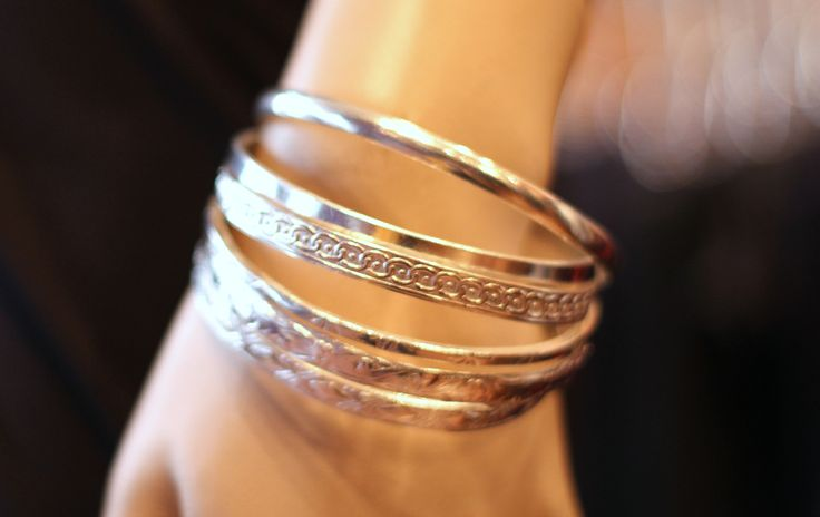 Silver Bangles. You can never go wrong with jewelry - it always fits!