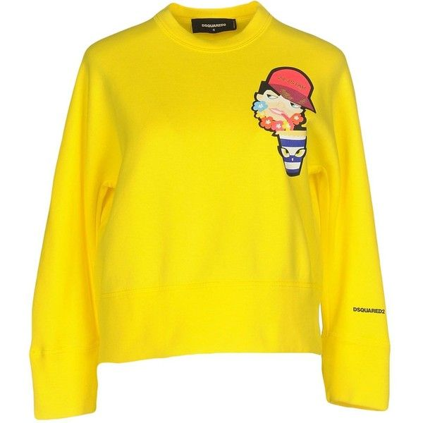 Dsquared2 Sweatshirt (3,530 EGP) ❤ liked on Polyvore featuring tops, hoodies, sweatshirts, yellow, long sleeve sweatshirts, yellow long sleeve top, long sleeve tops, dsquared2 sweatshirt and yellow sweatshirt