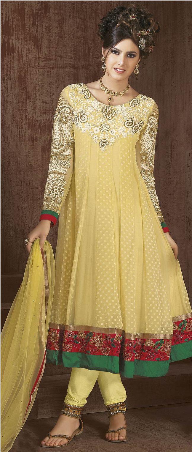 Light #Yellow Net #Churidar #Suit @ $92.05