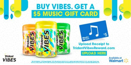 Receive a $5 iTunes Gift Card with Trident VIBES Gum Rebate