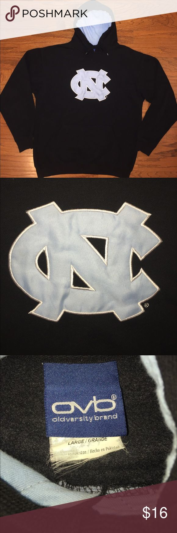 "UNC Tarheels Old Varsity Brand Sweatshirt Hoodie Good condition with some normal wear, black and Carolina blue colors with a UNC logo patch stitched on the front, made of 100% cotton material, men's size large, measurements are about 24"" pit to pit, 28"" tip to bottom and 24"" shoulder to cuff, Great Looking Hoodie, Nice Quality! Bundle for an Extra Discount! Old Varsity Brand Shirts Sweatshirts & Hoodies"