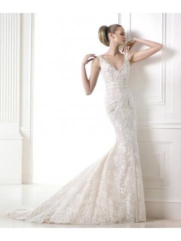 kant edelsteen borduurwerk V-hals lijfje zakken bezaaid Modern shirt-stijl trouwjurk