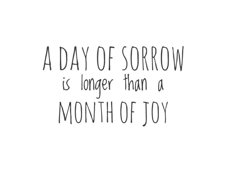 A daybof sorrow is longer than a month of joy