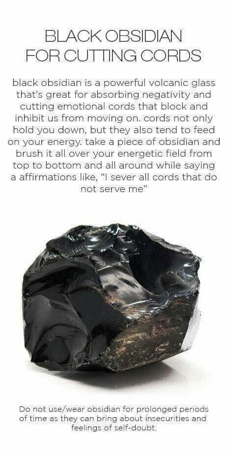Black obsidian for cutting cords