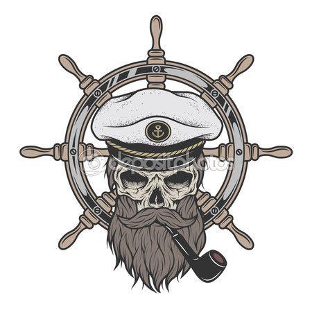 Капитан череп в шляпе с бородой — стоковая иллюстрация #81983906