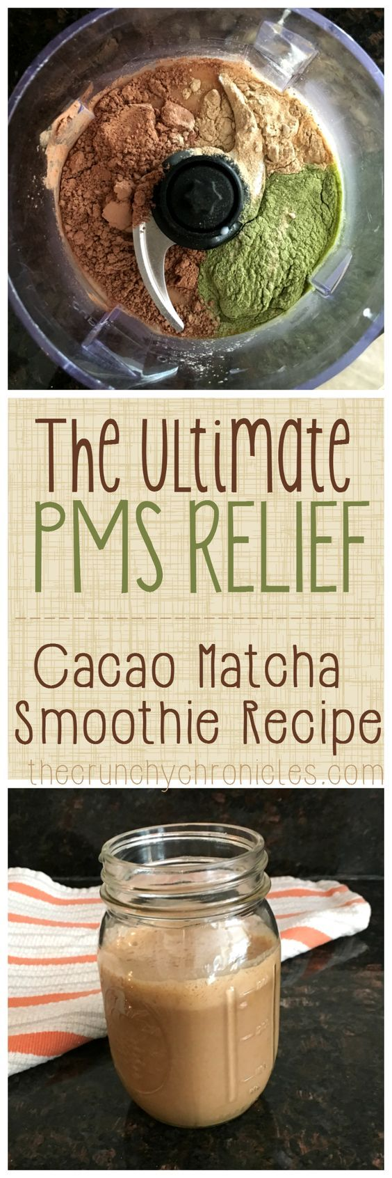 Cacao Matcha Smoothie Recipe - super delicious but also the ultimate PMS and PMDD relief! A great home remedy for hormonal imbalances and it is rich in magnesium. Perfect breakfast smoothie to start your day with or a pick me up in the afternoon.